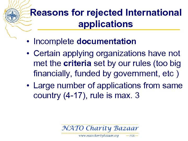 Reasons for rejected International applications • Incomplete documentation • Certain applying organizations have not