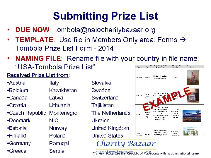 Submitting Prize List • DUE NOW: tombola@natocharitybazaar. org • TEMPLATE: Use file in Members