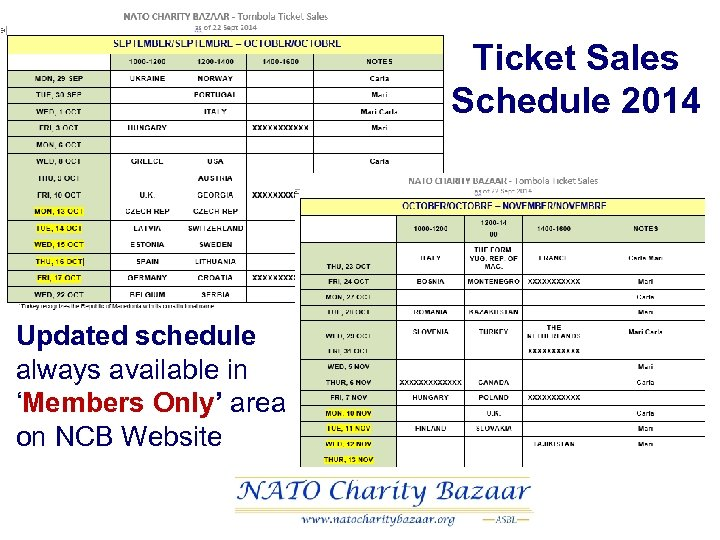 Ticket Sales Schedule 2014 Updated schedule always available in 'Members Only' area on NCB