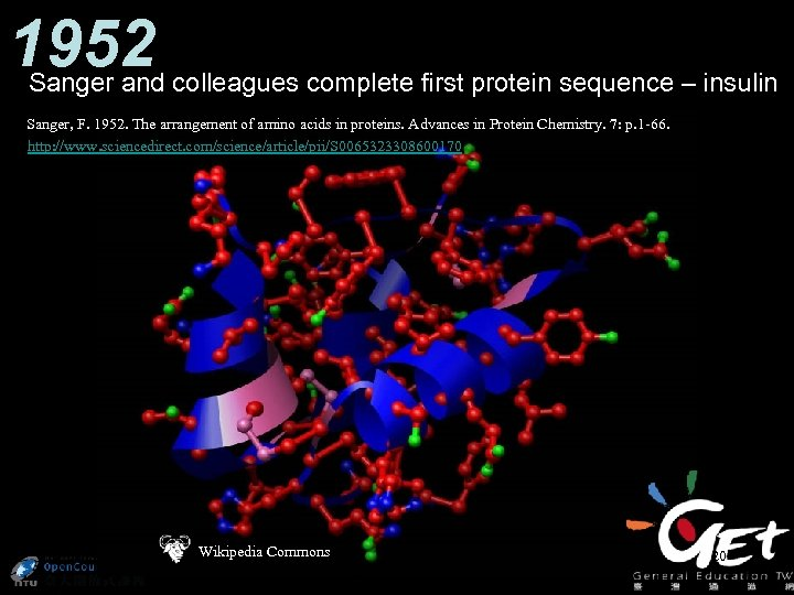 1952 Sanger and colleagues complete first protein sequence – insulin Sanger, F. 1952. The