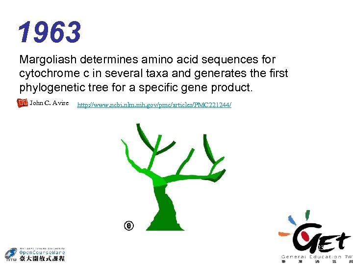 1963 Margoliash determines amino acid sequences for cytochrome c in several taxa and generates