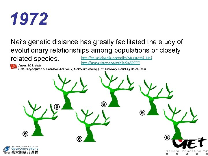 1972 Nei's genetic distance has greatly facilitated the study of evolutionary relationships among populations