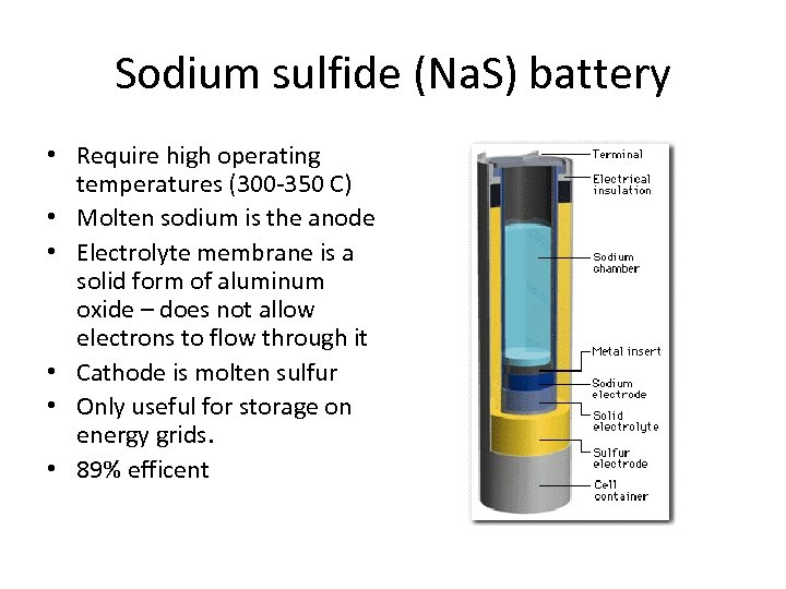 Sodium sulfide (Na. S) battery • Require high operating temperatures (300 -350 C) •