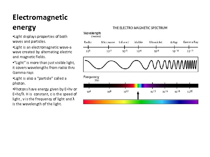 Electromagnetic energy • Light displays properties of both waves and particles. • Light is
