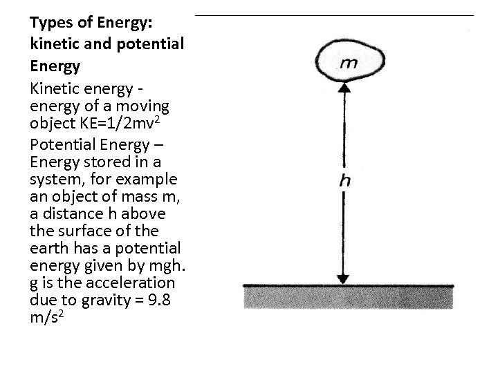 Types of Energy: kinetic and potential Energy Kinetic energy of a moving object KE=1/2