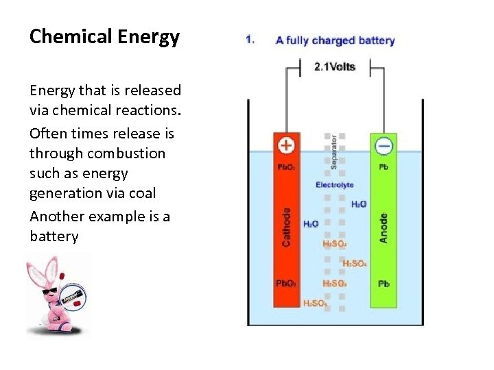 Chemical Energy that is released via chemical reactions. Often times release is through combustion