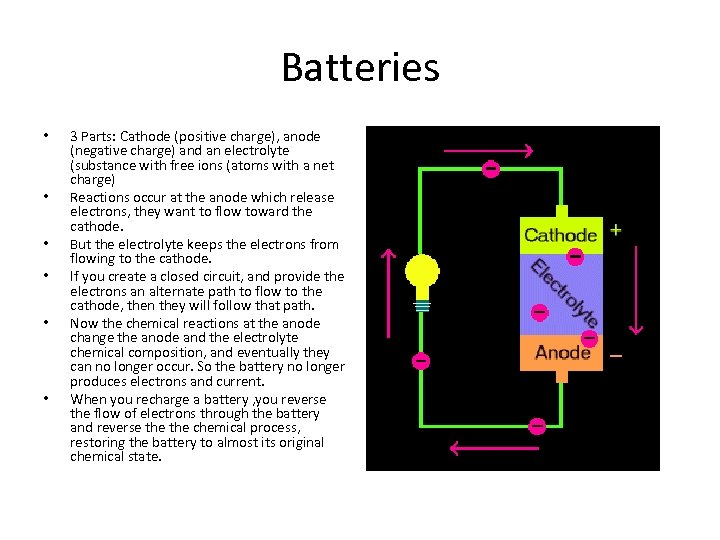 Batteries • • • 3 Parts: Cathode (positive charge), anode (negative charge) and an