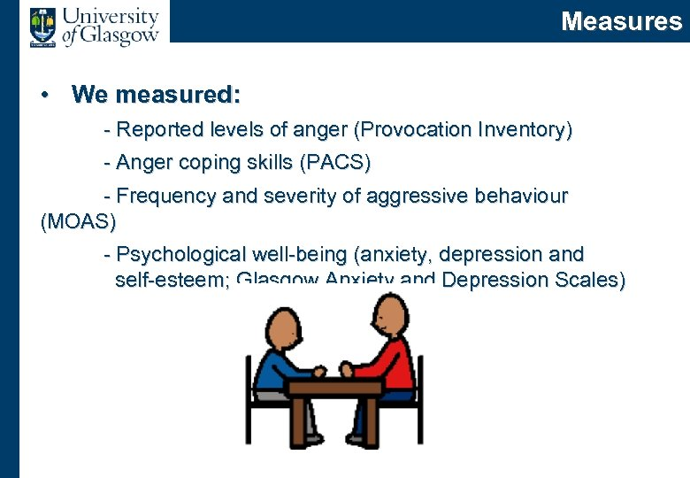 Measures • We measured: - Reported levels of anger (Provocation Inventory) - Anger coping
