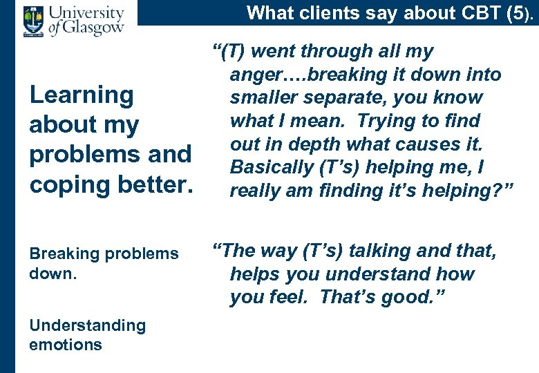 What clients say about CBT (5). Learning about my problems and coping better. Breaking