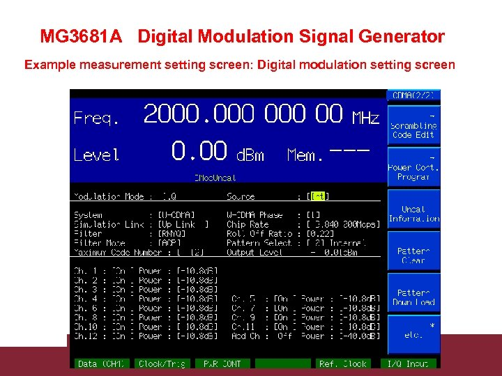 MG 3681 A Digital Modulation Signal Generator Example measurement setting screen: Digital modulation setting