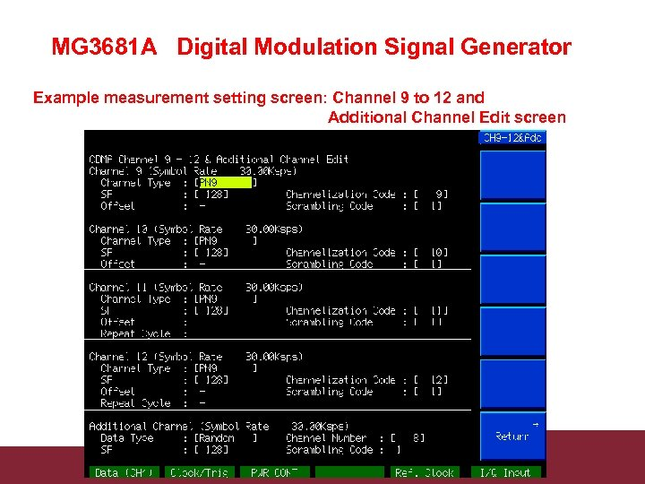 MG 3681 A Digital Modulation Signal Generator Example measurement setting screen: Channel 9 to