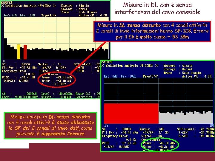 Misure in DL con e senza interferenza del cavo coassiale Misura in DL senza