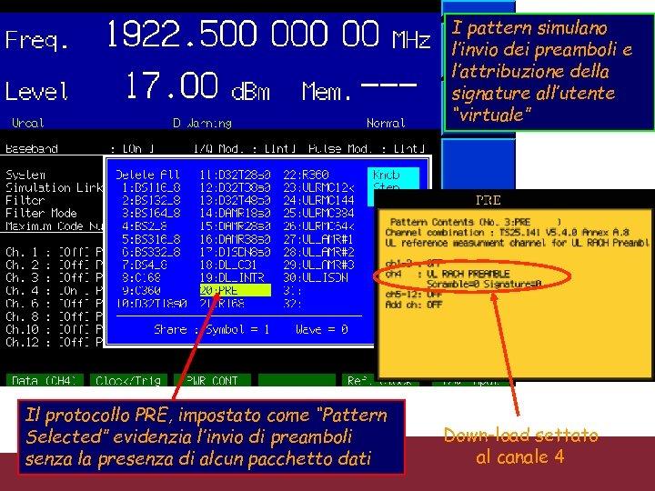 """I pattern simulano l'invio dei preamboli e l'attribuzione della signature all'utente """"virtuale"""" Il protocollo"""