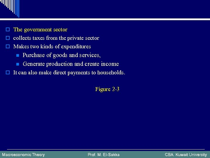 o The government sector o collects taxes from the private sector o Makes two