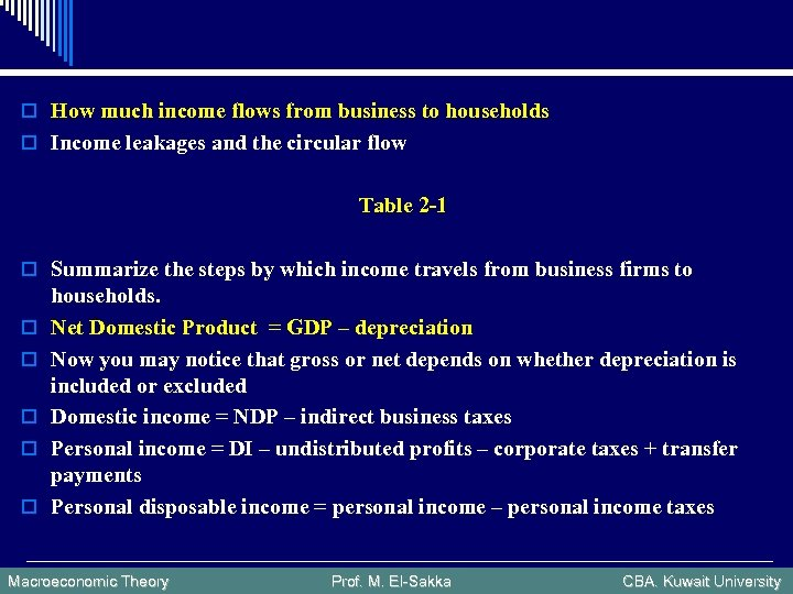 o How much income flows from business to households o Income leakages and the