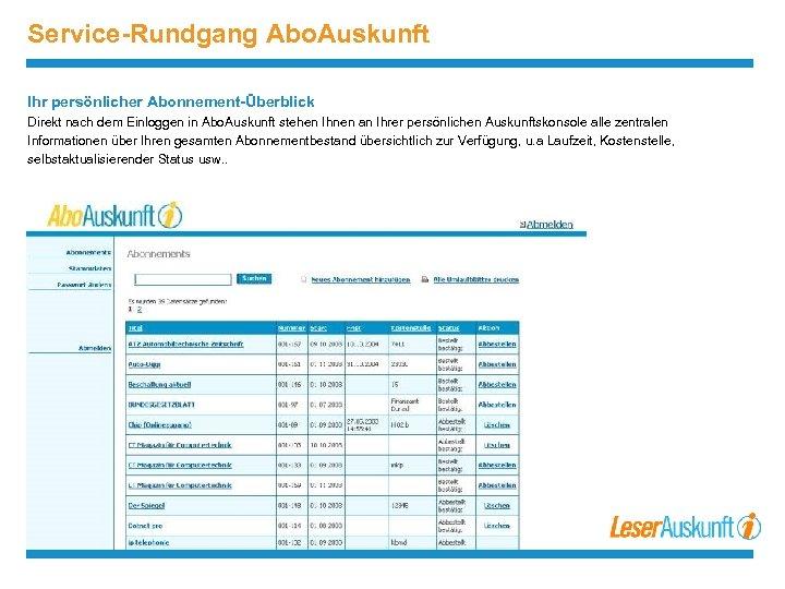 Service-Rundgang Abo. Auskunft Ihr persönlicher Abonnement-Überblick Direkt nach dem Einloggen in Abo. Auskunft stehen