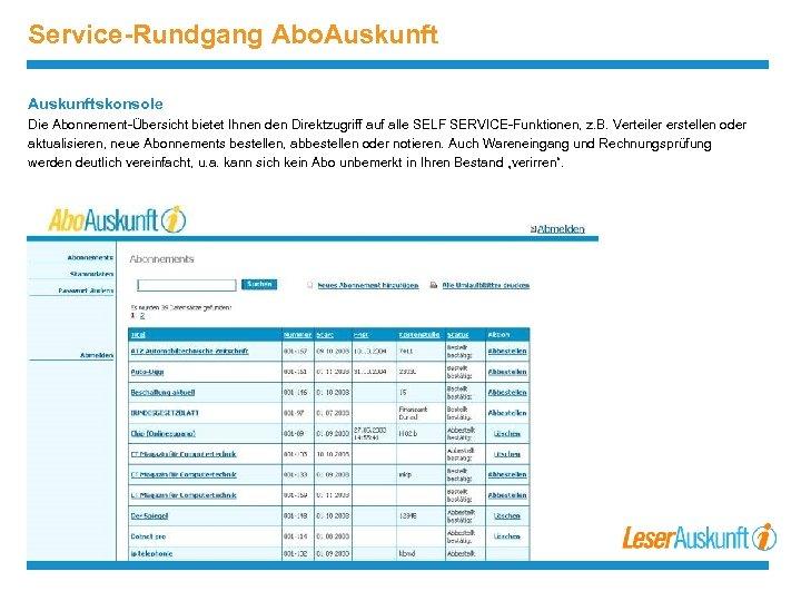 Service-Rundgang Abo. Auskunftskonsole Die Abonnement-Übersicht bietet Ihnen den Direktzugriff auf alle SELF SERVICE-Funktionen, z.