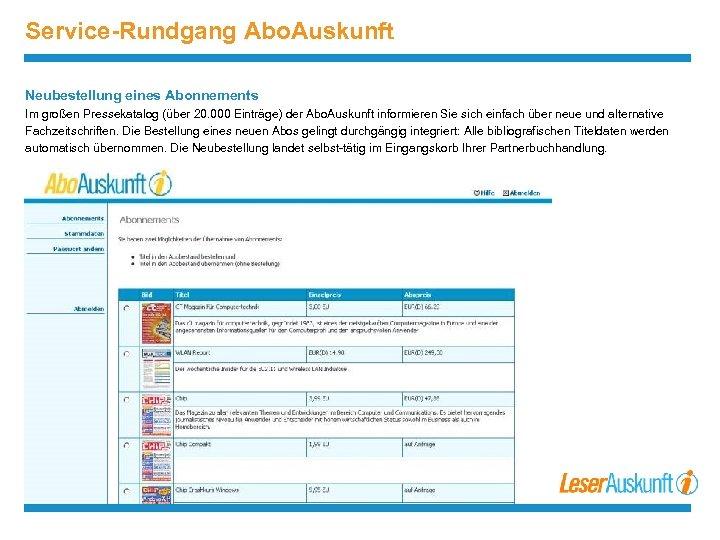 Service-Rundgang Abo. Auskunft Neubestellung eines Abonnements Im großen Pressekatalog (über 20. 000 Einträge) der