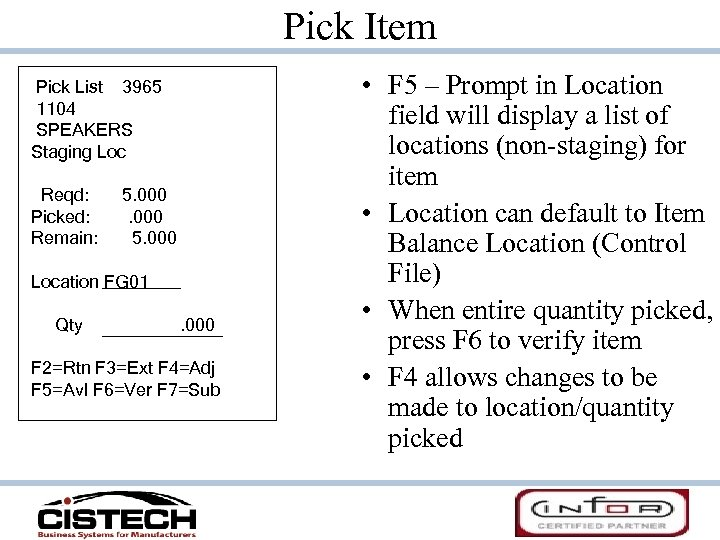 Pick Item Pick List 3965 1104 SPEAKERS Staging Loc Reqd: Picked: Remain: 5. 000