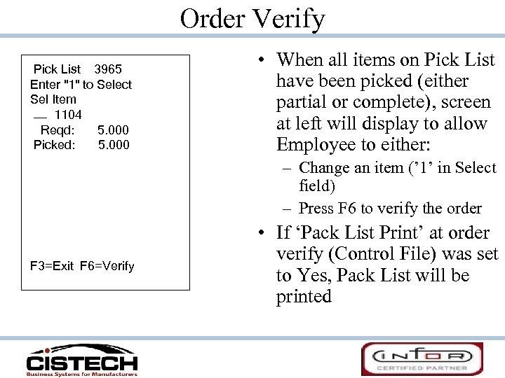 Order Verify Pick List 3965 Enter