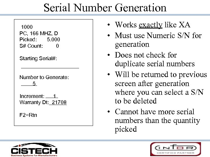 Serial Number Generation 1000 PC, 166 MHZ, D Picked: 5. 000 S# Count: 0