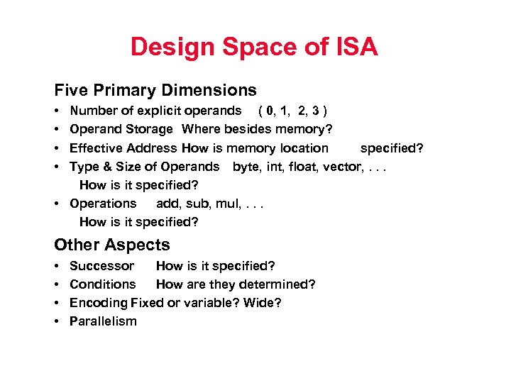 Design Space of ISA Five Primary Dimensions • • Number of explicit operands (