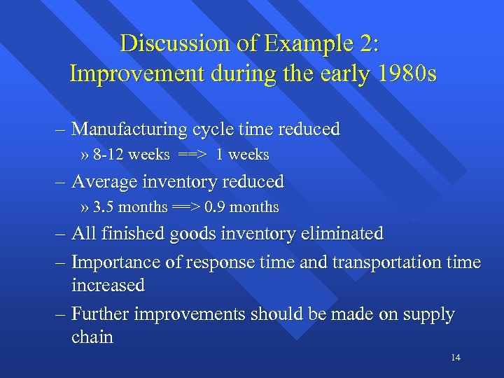 Discussion of Example 2: Improvement during the early 1980 s – Manufacturing cycle time