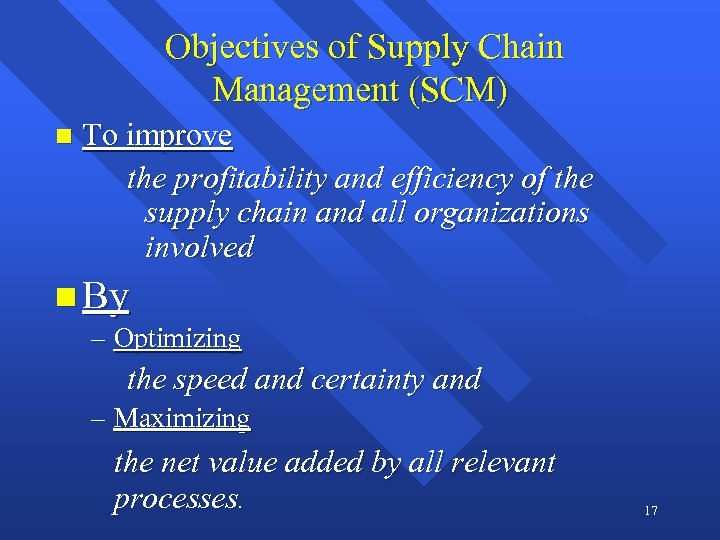 Objectives of Supply Chain Management (SCM) n To improve the profitability and efficiency of