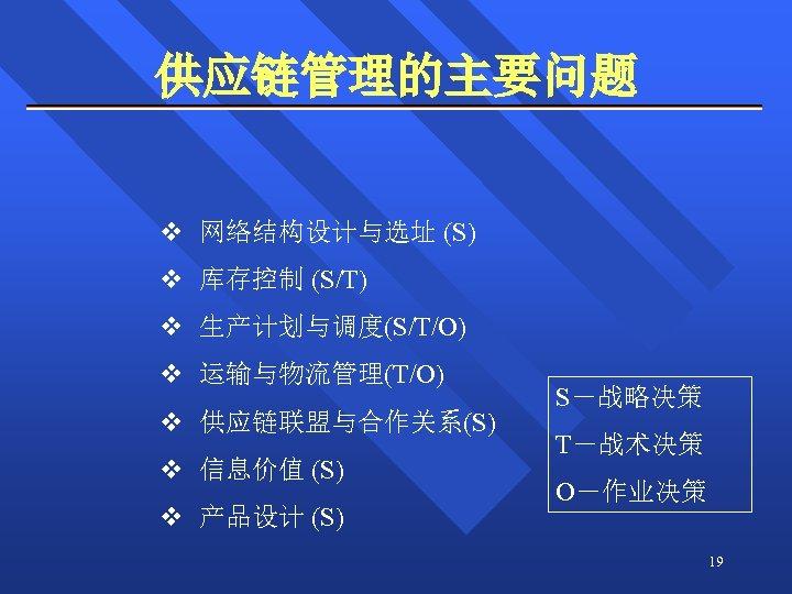 供应链管理的主要问题 v 网络结构设计与选址 (S) v 库存控制 (S/T) v 生产计划与调度(S/T/O) v 运输与物流管理(T/O) v 供应链联盟与合作关系(S) v