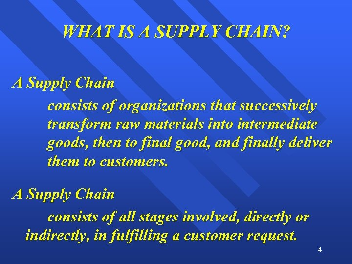 WHAT IS A SUPPLY CHAIN? A Supply Chain consists of organizations that successively transform