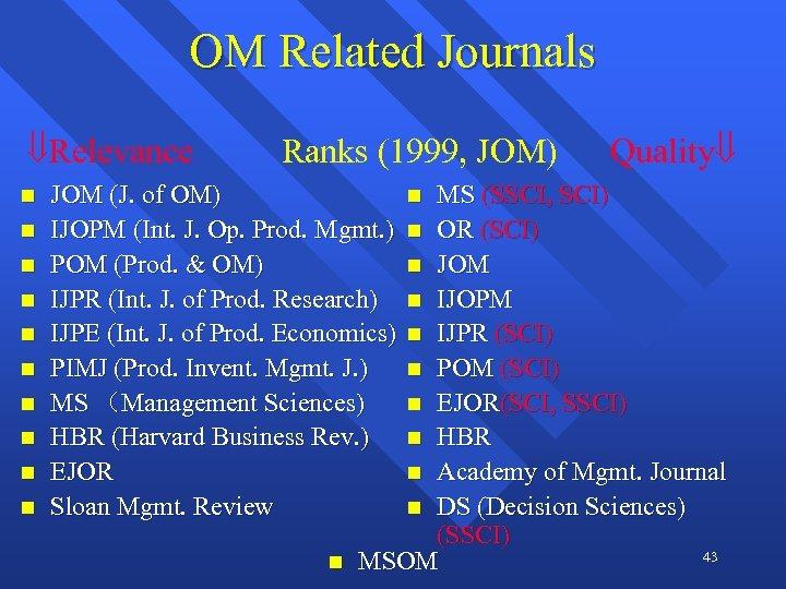 OM Related Journals Relevance n n n n n Ranks (1999, JOM) JOM (J.