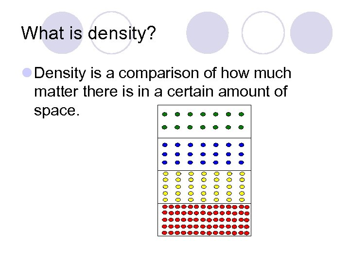 What is density? l Density is a comparison of how much matter there is