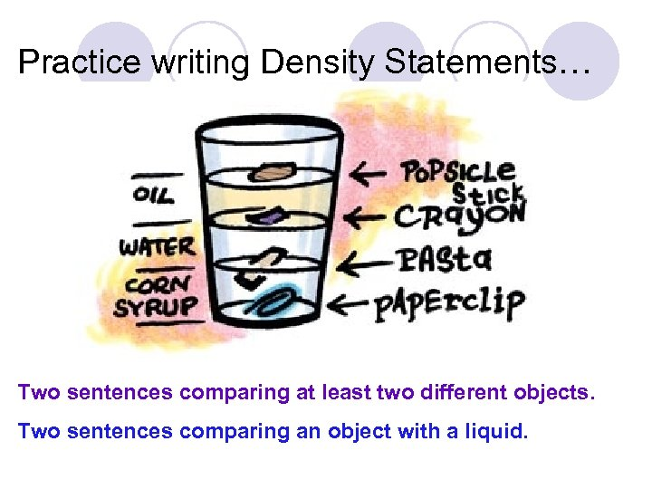 Practice writing Density Statements… Two sentences comparing at least two different objects. Two sentences