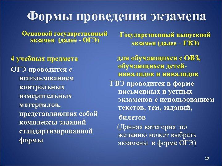 Формы проведения экзамена Основной государственный экзамен (далее - ОГЭ) 4 учебных предмета ОГЭ проводится