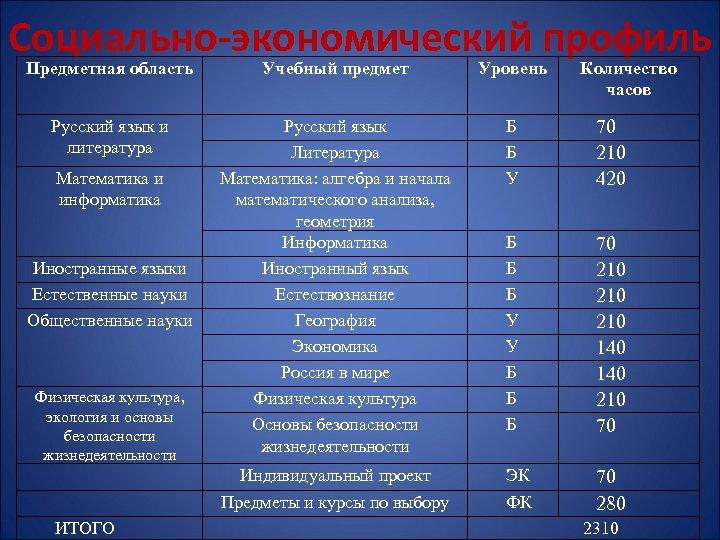 Социально-экономический профиль Предметная область Учебный предмет Уровень Русский язык и литература Русский язык Литература
