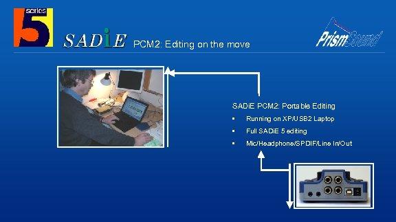 PCM 2: Editing on the move SADi. E PCM 2: Portable Editing • Running