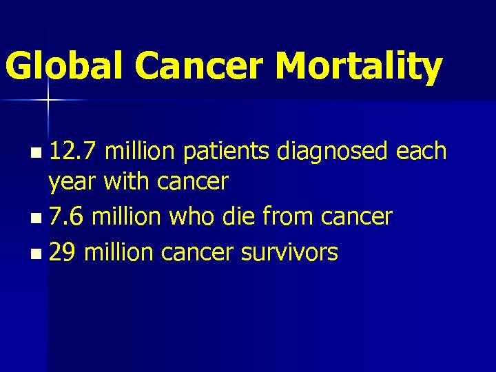 Global Cancer Mortality n 12. 7 million patients diagnosed each year with cancer n