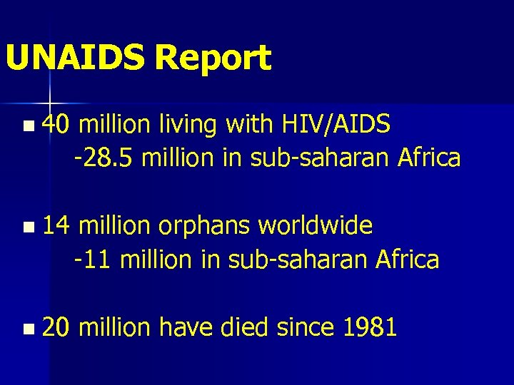 UNAIDS Report n 40 million living with HIV/AIDS -28. 5 million in sub-saharan Africa