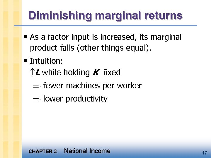 Diminishing marginal returns § As a factor input is increased, its marginal product falls
