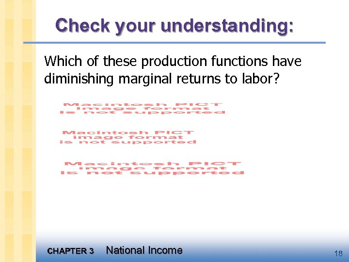 Check your understanding: Which of these production functions have diminishing marginal returns to labor?