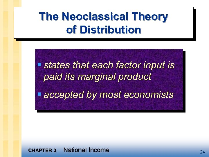 The Neoclassical Theory of Distribution § states that each factor input is paid its