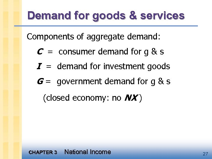 Demand for goods & services Components of aggregate demand: C = consumer demand for