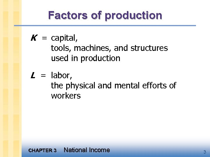 Factors of production K = capital, tools, machines, and structures used in production L
