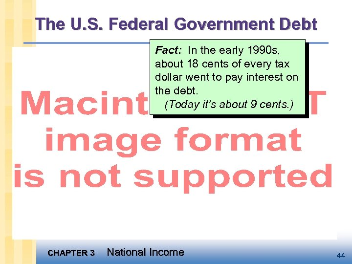 The U. S. Federal Government Debt Fact: In the early 1990 s, about 18