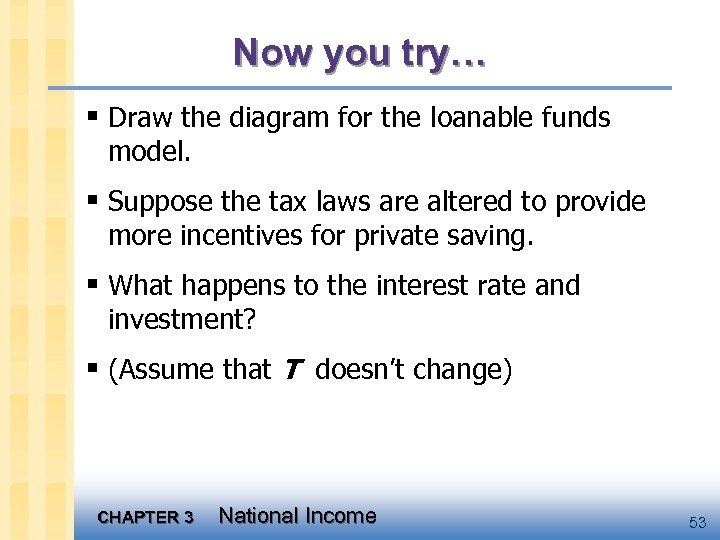 Now you try… § Draw the diagram for the loanable funds model. § Suppose