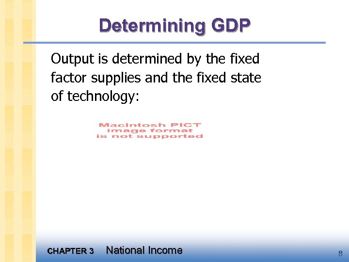 Determining GDP Output is determined by the fixed factor supplies and the fixed state