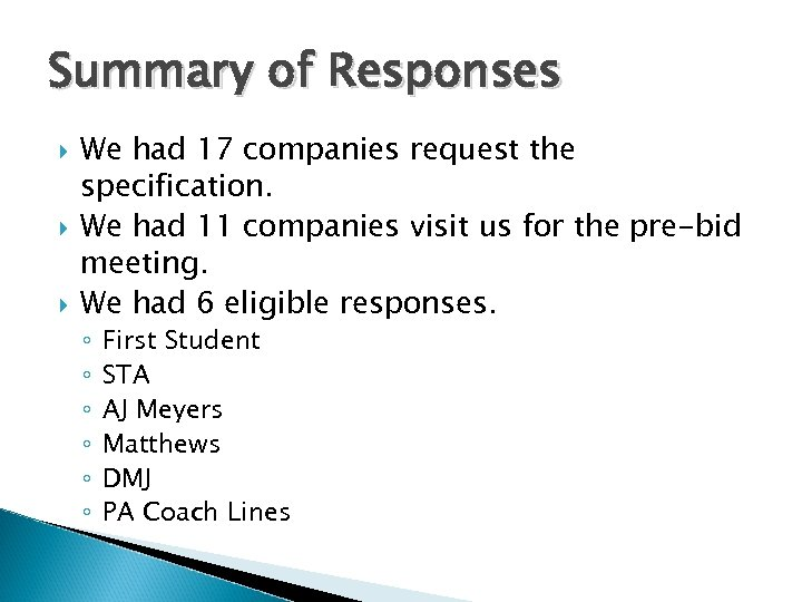 Summary of Responses We had 17 companies request the specification. We had 11 companies