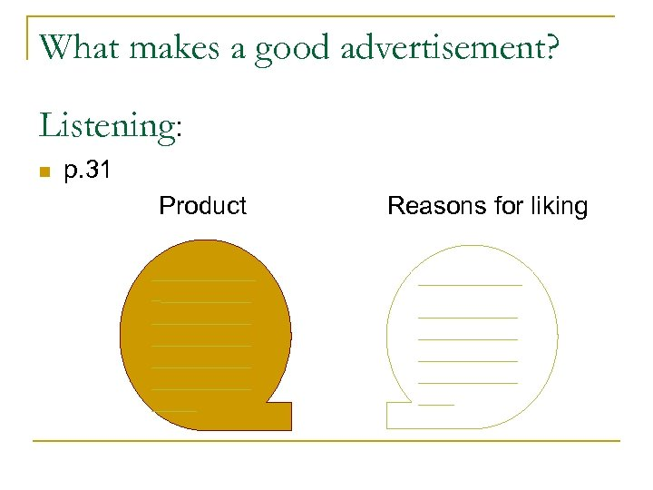 What makes a good advertisement? Listening: n p. 31 Product ____________ ___________ _____ __