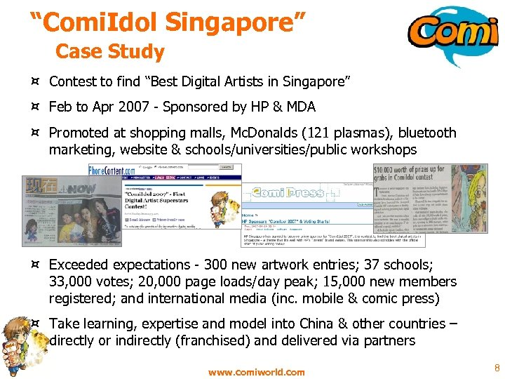 """""""Comi. Idol Singapore"""" Case Study ¤ Contest to find """"Best Digital Artists in Singapore"""""""