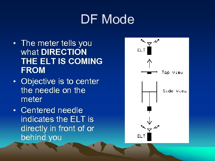 DF Mode • The meter tells you what DIRECTION THE ELT IS COMING FROM